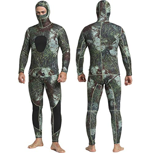 TYUE 3Mm Neoprene Camouflage Adult Men's Stretch Two-Piece UV Sun Protection Wetsuit Diving Spearfishing Swimming Rash Guard Suit - for Surfing, Scuba Diving Ideal for Canoe Or Kayak,XXL