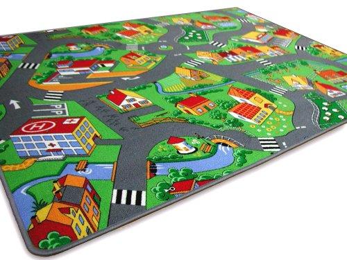 HEVO Kinder Spiel Teppich Little Village Grün 100x200 cm