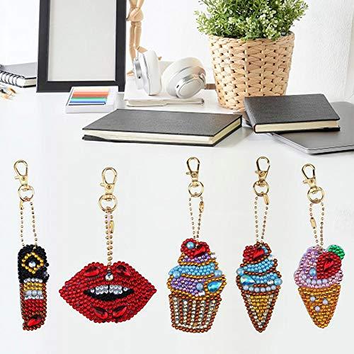 Seasons Shop 5 stuks ijs crème sleutelhangers hangers DIY schattige diamant schilderij sleutelhanger tas auto sieraden mobiele telefoon charme accessoires geschenk designer