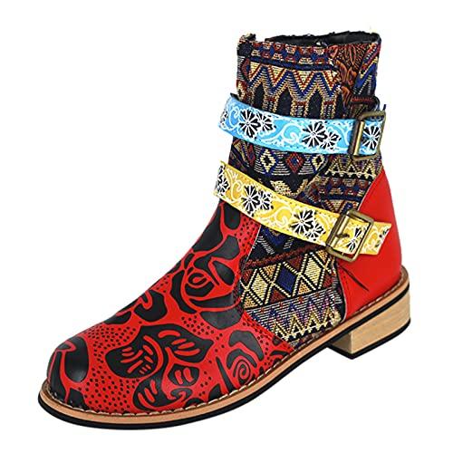Fomino Botines retro para mujer, para el tiempo libre, redondos, cómodos, con cremallera, para otoño, cómodos, elegantes botines de invierno, azul, 36 EU