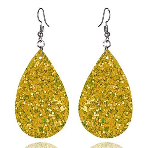 XAOQW Color Water Drop Pendientes de Cuero Pendientes de Mujer Piezas PU Cuero Pendientes Colgantes Accesorios de moda-11