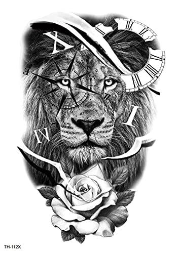 Reloj Brazos De León 15X21cm-5Pcs Rainday Negro Tatuaje Temporal Pegatinas Arte Stickes Para Adultos Mujeres Niñas Gran Brazo Tatuaje Pegatinas Cuerpo Pegatina