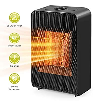 Pop V, Portable 750W/1500W Ceramic Electric, Personal Space Heater with Overheat Protection & Tip-Over Protection-Perfect for Home or Office, 9.4 x 7 x 6.8, Black