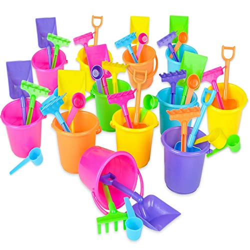 Mini Beach Bucket and Shovel Set - (Pack of 12) 3-1/4' Mini Bucket Party Favor Sand Box Play Set and Mini Beach Sand Pail Includes, Shovel, Rake, Scoop Beach Sand Toy for Birthday Or Mermaid Theme