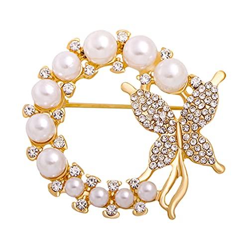 Sharplace Moda Perla Diamante de imitación Mariposa Broche Adorno Temperamento Personalidad Oro Elegante Aleación Pequeña Red Rojo Tachonado de Diamantes para