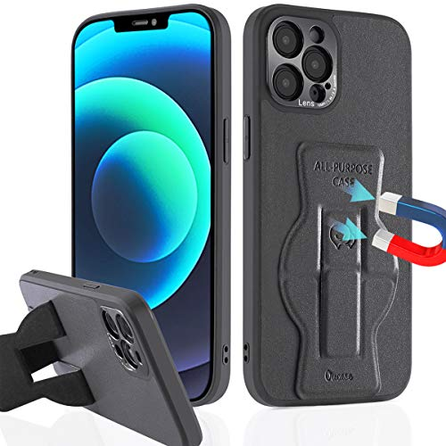 Magnetic Case for iPhone 12 Pro Max, Built-in Strong Magnets [Support Magnetic Car Mount] Stick to Metal Surface Premium PU Leather Phone Case with Stand Camera Lens Protection Kickstand Shockproof
