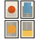 Abstract Geometric Wall Art - Modern Abstract Canvas Wall Art Geometric Picture Mid Century Abstract Art Prints Geometric Minimalist Wall Art Mid Century Modern Wall Art Decor 12x16x4 Inch Unframed