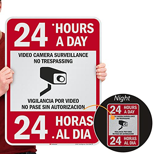 """SmartSign 24 x 18 inch """"24 Hours A Day - Video Camera Surveillance, No Trespassing"""" Bilingual Metal Sign, 80 mil Aluminum, 3M Laminated Engineer Grade Reflective Material, Red, Black and White"""