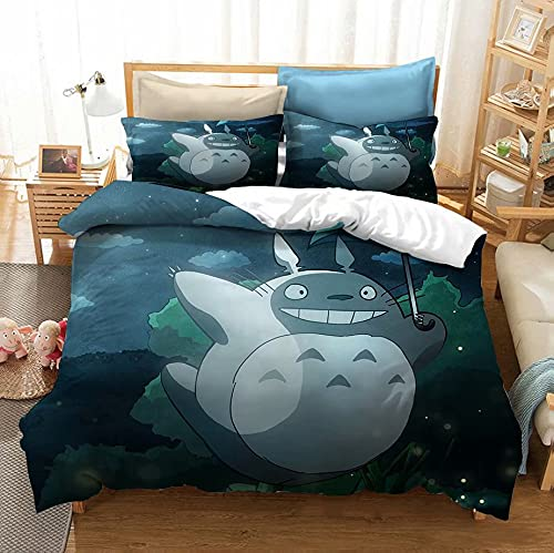 Haonsy My Neighbor Totoro Bedding Duvet Cover Set 3D Cartoon Anime Totoro Bed Sets Kids Bedroom Set 1 Duvet Cover + 2 Pillow Sham Queen Size Room Decor for Boys Girls