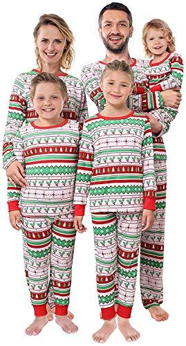 Shangood Christmas Family Matching Pajamas Set Striped Xmas Pjs Clothes,Holiday Tops and Pants Sleepwear for dad,Mom,Women-XL
