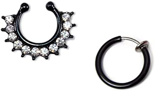 BodyJewelryOnline Faux Septum and Nose Clip Set Black - 2 Pieces