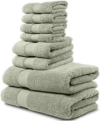 Luxury Bath Towel Set Hotel & Spa Quality 2 Large Bath Towels 30x56, 2 Hand Towels, 4 Washcloths. Premium Collection Turkish Bathroom Towels. Soft, Plush and Highly Absorbent. (Set of 8, Sage Green)