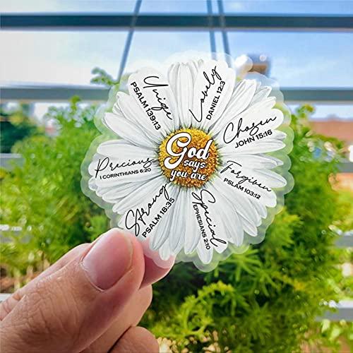 Dios Says You are Daisy - Vinilo adhesivo para ventana, diseño de flores, color blanco, 1o