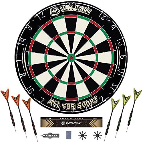 WIN.MAX Dartscheibe Kork Dartscheibe mit Pfeilen Offizielles dartscheibe steeldart,6 Dartpfeile Metallspitze, Turniermaß Dart Scheibe Dartboard Steeldartscheibe Set