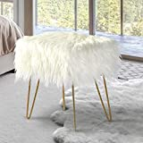 oneinmil 18inch Faux Fur Vanity Chair Fuzzy Fluzzy Stool Ottoman Foot Rest, Cute Seat for Bedroom, with Gold Metal Legs, Rectangle Cream White