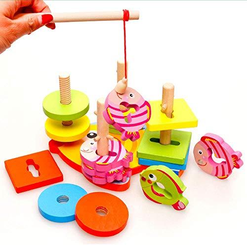 2 in 1 Holz Angelspiel, Farbe, Form Recognition Stapel sortieren Angeln Spiel pädagogisches Spielzeug for Kinder mit 16 Holzstücke zcaqtajro