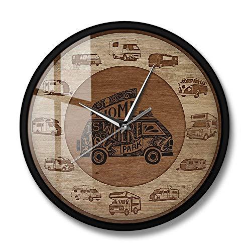 rrff El hogar es Donde estacionas RV Vehículos recreativos Textura de Madera Impresión acrílica Reloj de Pared Camper Vans Autocaravana Viaje Arte de Pared-Metal_Frame