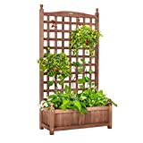 VIVOHOME Wood Planter Raised Bed with Trellis, 48 Inch Height Free-Standing Planter for Garden Yard