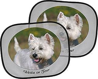 West HIGHLAND WHITE Terrier   2 x Auto Sonnenschutz, 4 Saugnäpfe, 44 x 38 cm, Zweier Set   Westie 01