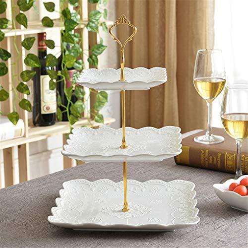 Kumbertic - Plato de porcelana (3 capas, porcelana, vajilla plana, vajilla, artesanía, accesorios para repostería, frutas, suave dorado