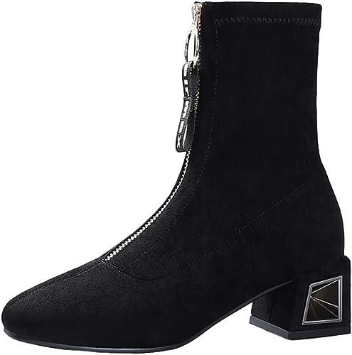 Bottines pour Les Les dames Bottillons à La Mode Féminine élastiques Chaussettes à Talons Mi Chunky Noir Femmes Chaussures Bottes Martin