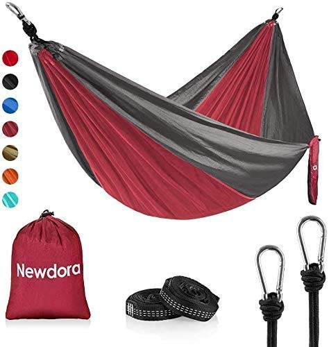 "Newdora Hammock Double with Tree Straps, Lightweight Portable Nylon Parachute Double Hammock for Backpacking, Camping, Travel, Beach, Yard. 105""(L) x 56""(W),Red & Grey"