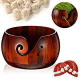 Wooden Yarn Bowl, 6 x 3 Inches Knitting Yarn Bowls with Holes Crochet Bowl Holder Handmade Yarn Storage Bowl for DIY Knitting Crocheting Accessories