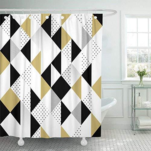 Stoff Duschvorhang mit Haken Geometrisch Abstrakt mit Dreiecken Gold Schwarz & Weiß Muster Modern Chevron Elegant-120cm * 180cm