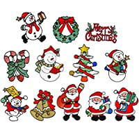 IMIKEYA 12ピースクリスマスウィンドウまとまり休日の装飾クリスマスウィンドウステッカーサンタクロース雪だるまウィンドウリースステッカーデカールホリデーパーティーの好意