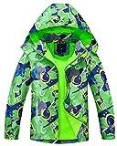 Maeau Verde Chubasquero Cortavientos Infantil, Chaqueta Impermeable con Forro Polar Niña, Chaqueta de dinosaurios para chico