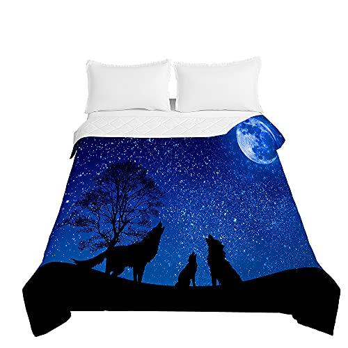 Colcha de Verano Cubrecama Colcha Bouti, Chickwin 3D Lobo Estampada Edredón Manta de Dormitorio Suave Ligero Multiuso Colchas para Cama Infantil Individual Matrimonio (Estrellas Azules,100x150cm)