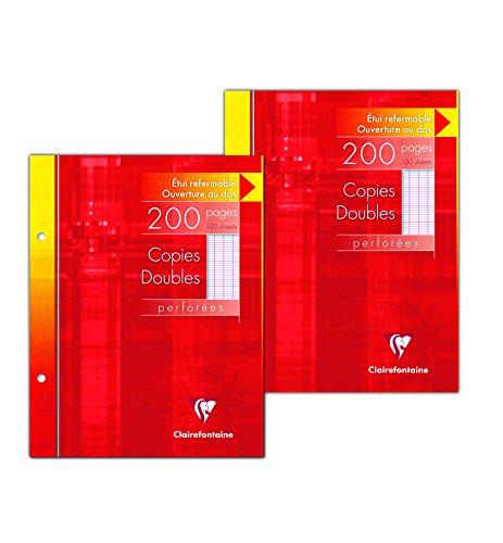 ClaireFontaine 14411AMZC - Un lot de 2 étuis cartons 200 pages Copies doubles perforées 17x22 cm 90g grands carreaux