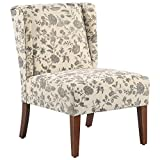 HOMCOM Upholstered Armless Accent Chair, Leisure Side Chair with Wingback, Soft Linen Fabric and Solid Wood Legs, Floral