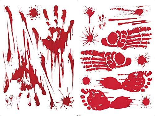 UMIPUBO Bloody Handprint Halloween Sticker Halloween Horror Adesivi Elettricità Statica Accessori Halloween Finestra Adesivi per Halloween Party Decorazione 6 Fogli (Halloween)