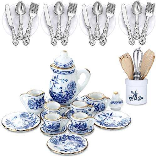 37 Pieces 1:12 Scale Miniatures Dollhouse Kitchen Accessories Include 16 Mini Doll Plates Knife Fork Spoon, 6 Mini Egg Beater Utensil, 15 Mini Tea Cup Set for Doll Toy Supplies (Blue Porcelain)