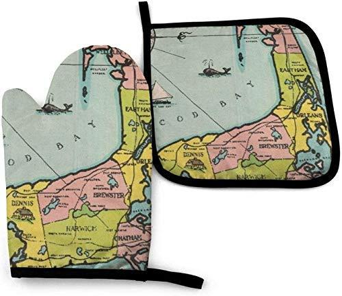 Mapa Vintage de Cape Cod Manoplas para Horno de microondas y Porta ollas Juego de Cubiertas Manta de Aislamiento térmico Almohadilla Mitones Guantes Antideslizantes para Barbacoa