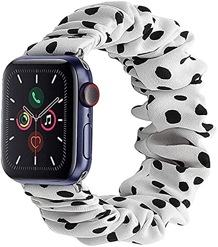 Vanbatey Newest Fashion Women/Girls Gift Elastic Fabric Scrunchie Band Compatible with Apple Watch Series 6 SE 5 4 3 2 1, Soft Women White dot Printed Bracelet Strap Replacement for iWatch 38mm 41mm