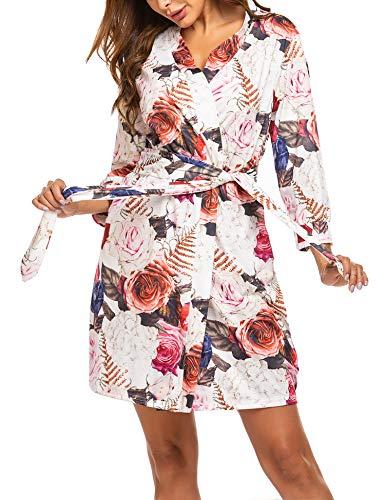Unibelle dames ochtendjas kort van katoen dunne 3/4 mouwen badjas kimono saunamantel robe negligé met V-hals zomer
