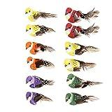 Demiawaking 12 Bunte künstliche Vögel auf Clips Federschaum Vögel zum Basteln Garten Vogel Ornamente Zuhause Party Dekoration