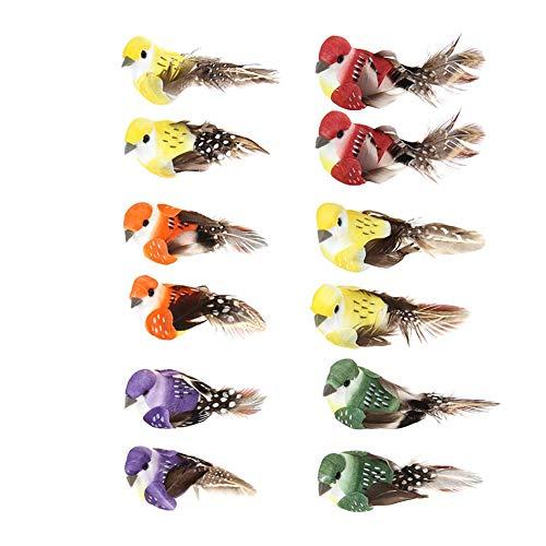 Demiawaking 12 bunte künstliche Vögel auf Clips, Federschaum-Vögel für Handwerk, Garten, Vogel, Ornamente, Partydekorationen