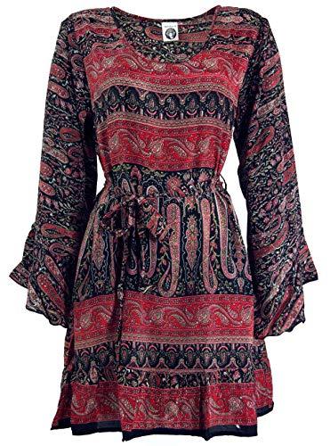 Guru-Shop Boho Tunika mit Gürtel, Luftige Blusentunika, Minikleid, Damen, Bordeauxrot, Synthetisch, Size:38, Blusen & Tunikas Alternative Bekleidung