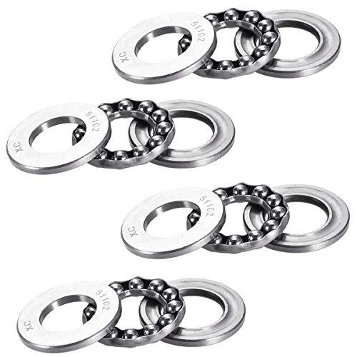 51102 Single Direction Thrust Ball Bearings 15mm x 28mm x 9mm Bearing Steel(4 Pcs)