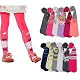 I&S 6 Pack Girl's Winter Tights Fashion Kids Stretch Comfortable Assorted Colors Designs (Medium - (Age: 4-6 Years), Assorted Prints & Designs)