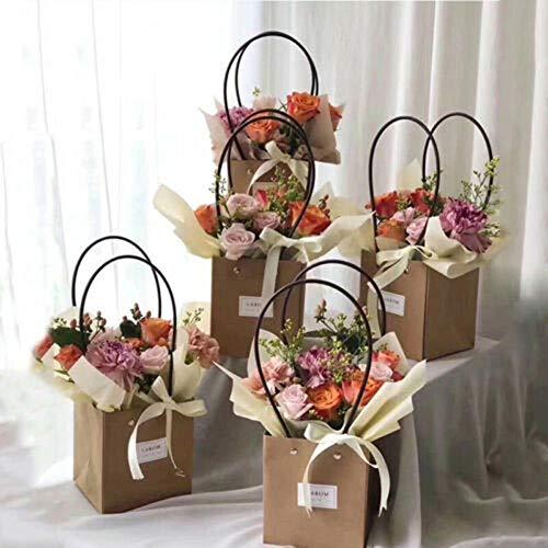 TOSISZ 5 Stück Vintage Papier Blumentasche Kränze Blumenkasten Verpackung Dekorative Blume Handtasche Hand dekorative Blumen Paket, 11,5x10,5x13cm