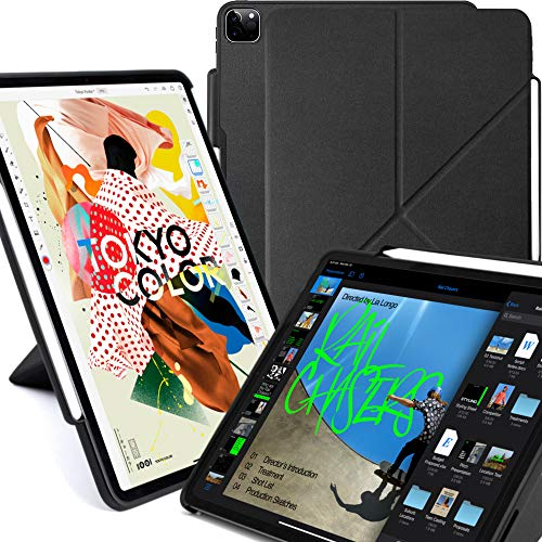 KHOMO iPad Case Pro 12.9 Case 4th Generation 2020 with Pencil Holder - Dual Origami Series - Horizontal and Vertical Stand - Supports Apple Pen Charging - Charcoal Black