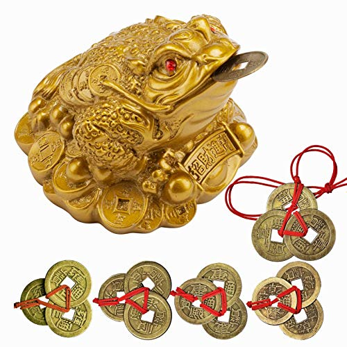 YODOOLTLY Lucky Money Frog Coin- 5 Sets Chinese Fortune Coin Lucky I-ching Coins with Red String and 1 Feng Shui Toad Charm Statue Gift Ornaments for Office, Home Decoration