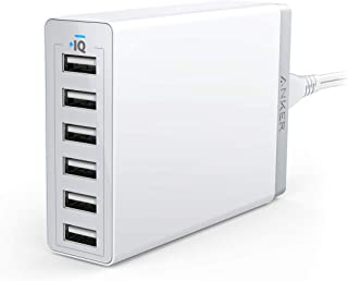 Anker 60W 6-Port USB Wall Charger, PowerPort 6 for iPhone XS / XS Max / XR / X / 8 / 7 / 6 / Plus, iPad Pro / Air 2 / mini/ iPod, Galaxy S7 / S6 / Edge / Plus, Note 5 / 4, LG, Nexus, HTC and More