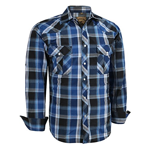 Coevals Club Men's Long Sleeve Casual Western Plaid Pearl Snap Buttons Shirt (M, 4#Blue,Black)
