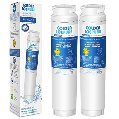 Kühlschrank Wasserfilter Ersatz kompatibel mit Bosch Ultra Clarity 644845, Siemens Neff Miele 740560 00740560 9000194412 REPLFLTR10; Haier 0060820860 0060218743; Bypass Cartridge by GOLDEN ICEPURE