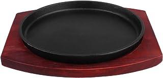Yardwe Steak Plate Round Shape Non-Stick Grill BBQ Pan Sizzling Fajita Pan Steak Grill Pan Teppanyaki Beef Steak Tray for ...